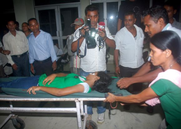 A basket ball player from West Bengal, injured in the blast, being rushed to the Guwahati Medical College Hospital on Sunday evening