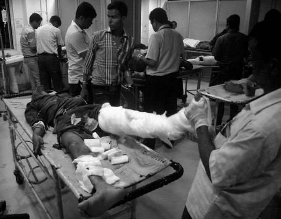 A man injured in the grenade blast being treated at the Guwahati Medical College Hospital on Sunday