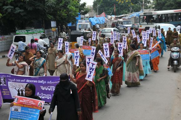 Women activists participate in a march for Telangana in Hyderabad