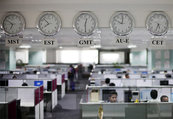 Employees at an outsourcing centre in Bangalore. Photograph used for represntational purposes only