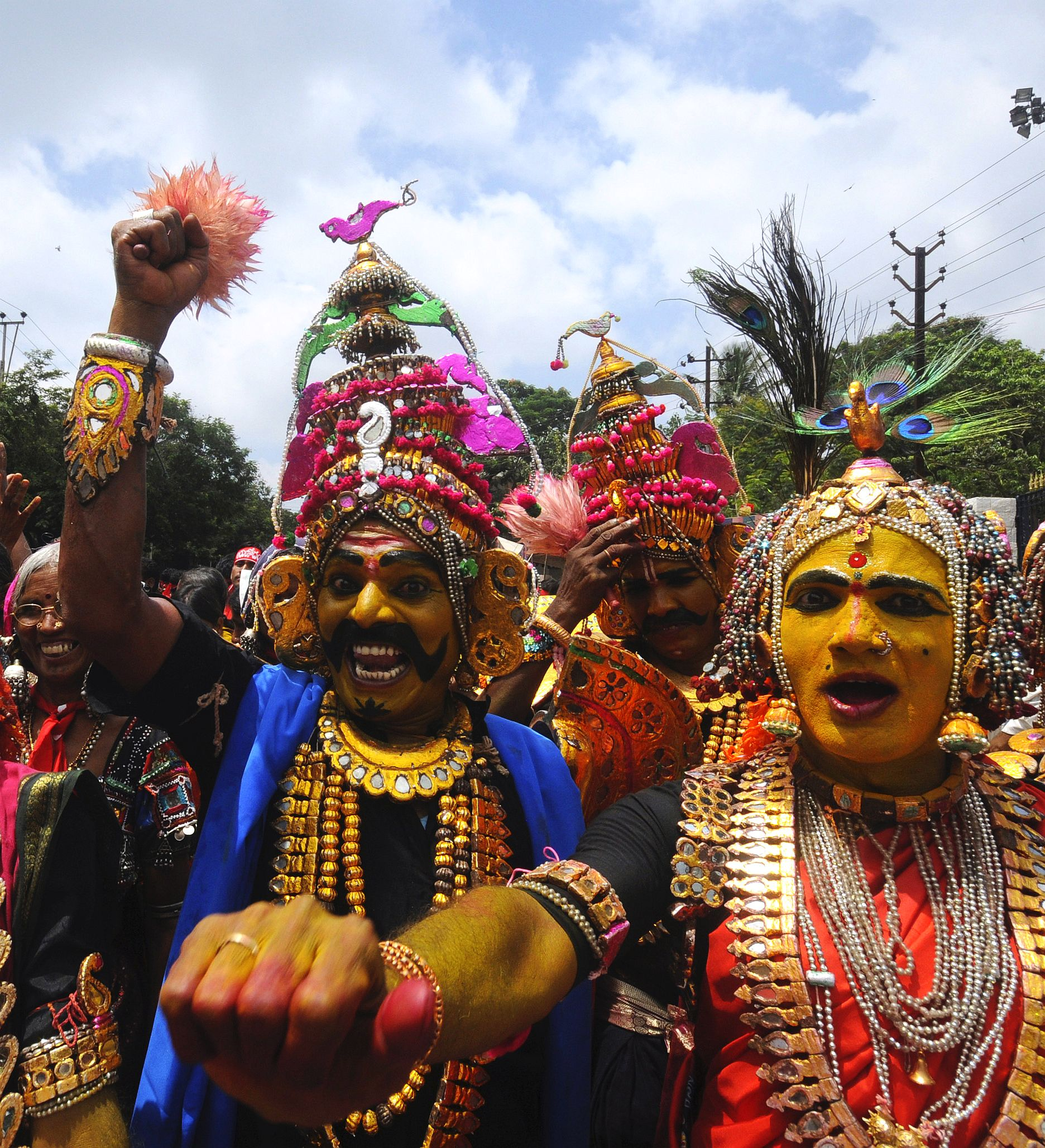 Cultural artists from Telangana participate in a protest rally in Hyderabad