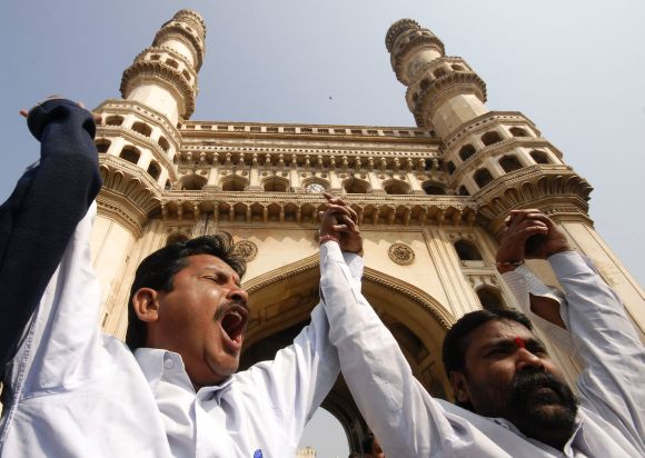 Members of the Telangana Joint Action Committee protest in Hyderabad
