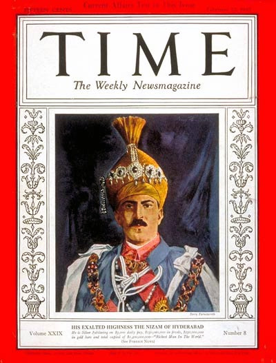 The Nizam on the cover of Time magazine, February 22, 1937.