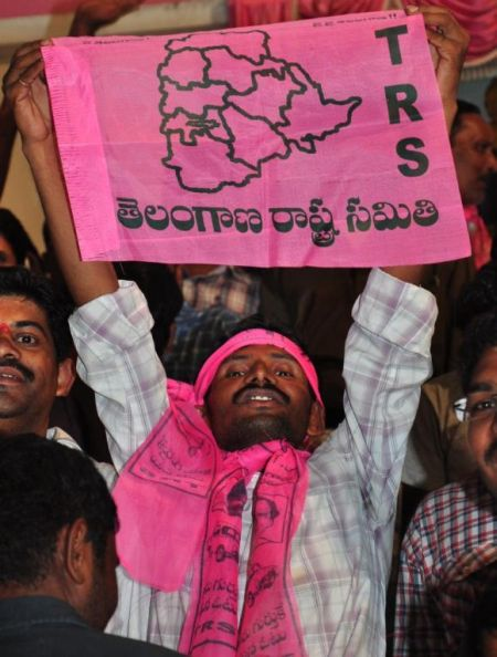 TRS supporters celebrate in Hyderabad on Tuesday night