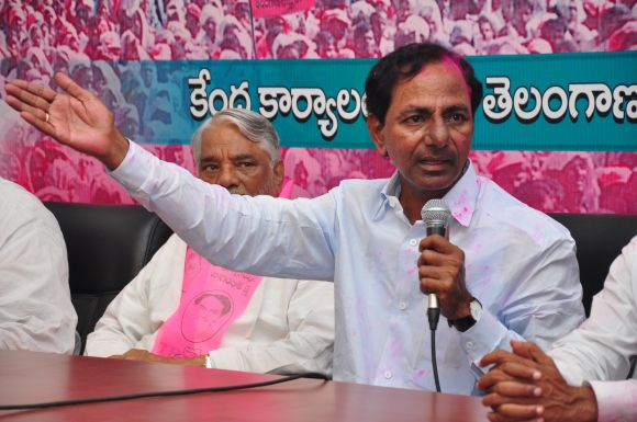TRS chief K Chandrashekhar Rao speaking to the media on Tuesday evening
