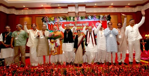 Senior BJP leaders and chief ministers at the Goa national executive meeting.