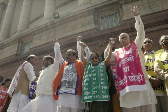 NDA leaders Sharad Yadav, Shiv Sena's Manohar Joshi and L K Advani, Rajnath Singh, Sushma Swaraj protesting against price-rice in front of the Parliament in this 2008 photograph.