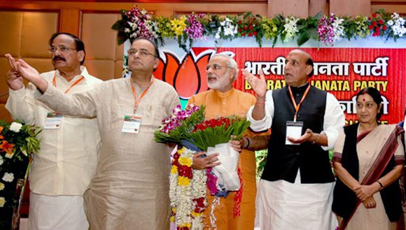 BJP leaders Venkaiah Naidu, Arun Jaitley, Rajnath Singh and Sushma Swaraj share the stage with Narendra Modi.