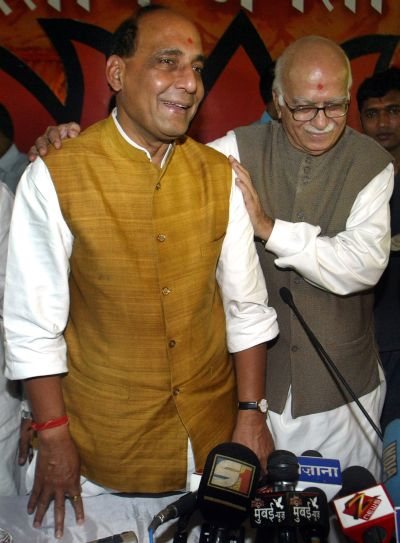 L K Advani greeting Rajnath Singh in this 2005 photograph
