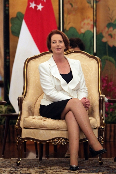 Gillard during her visit to Singapore last April