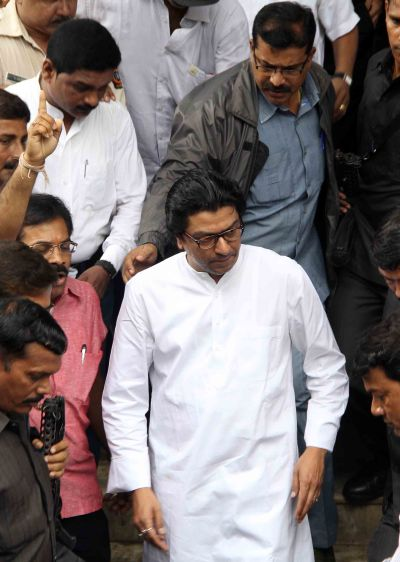 MNS chief Raj Thackeray steps out of a court in Bandra on Wednesday