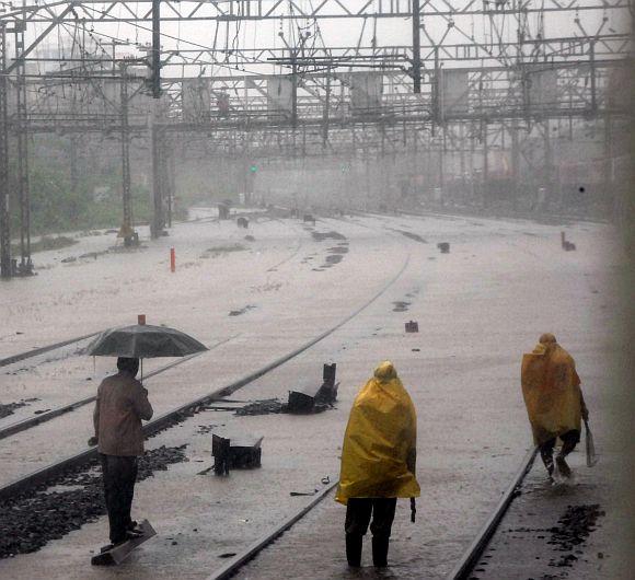 Flooded tracks near Kurla station