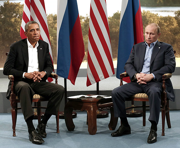 US President Barack Obama meets with Russian President Vladimir Putin during the G8 Summit at Lough Erne in Enniskillen,  Northern Ireland