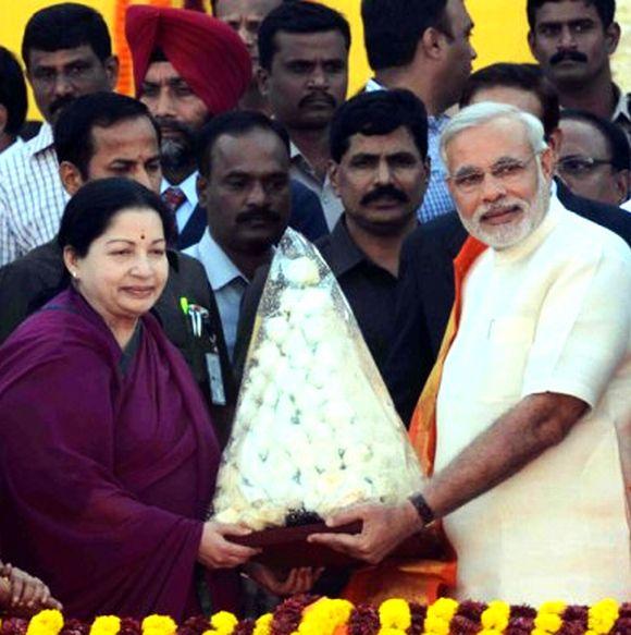 Tamil Nadu Chief Minister J Jayalithaa greets her Gujarat counterpart Narendra Modi in Ahmedabad.