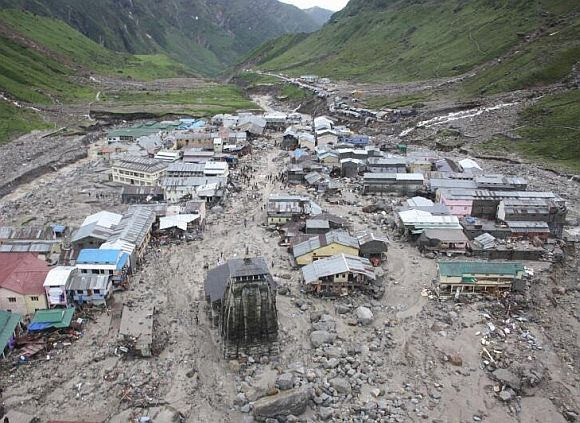 The Kedarnath temple is pictured amid damaged surroundings by flood waters last year