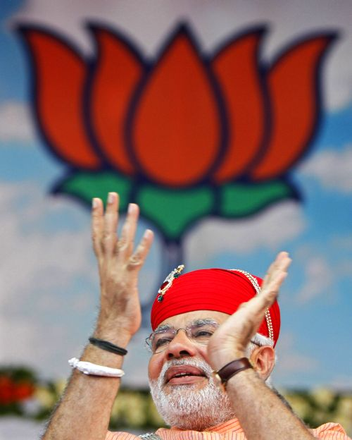 Gujarat Chief Minister Narendra Modi at a campaign rally in Pavagadh