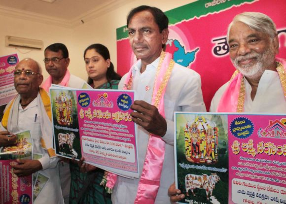 TRS president K Chandrashekar Rao with newly-appointed secretary general Keshav Rao at a function in Hyderabad