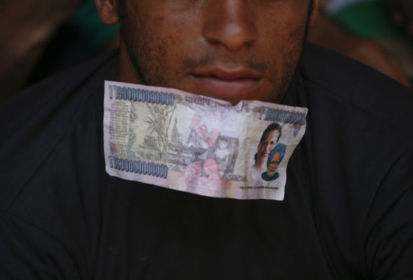 A protestor participates in an anti-corruption demonstration in New Delhi