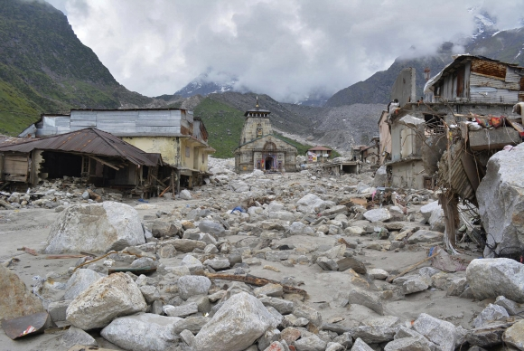 The Kedarnath Temple is pictured amid damaged surroundings by flood waters at Rudraprayag