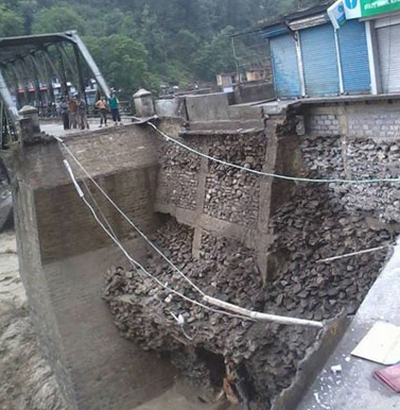Heavy rains have washed away the road beyond the Pinder valley bridge, Uttarakhand