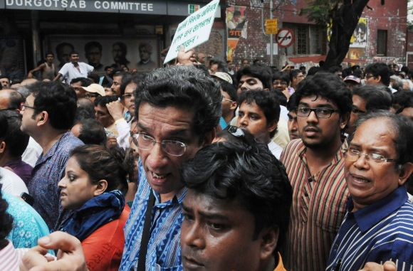 Actor Sabyasachi Chakraborty (in blue shirt) took part in a rally organised by intellectuals in Kolkata in protest against gangrape of a student at Kamduni, North 24 Parganas.