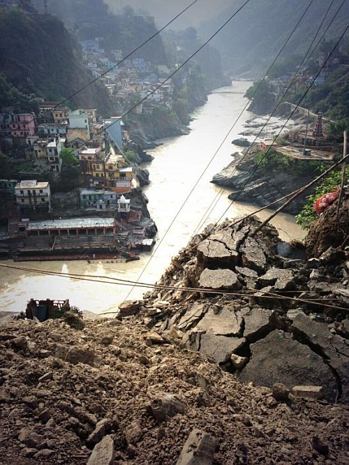 Road torn up by river during Ganga Fury exactly above the final confluence of the Ganga at Devprayag