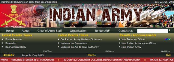 The Indian Army's website