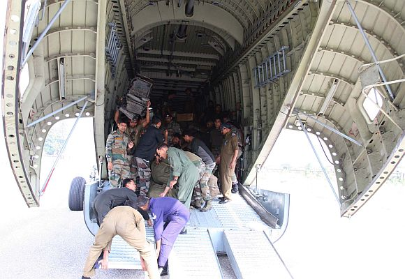 Rescue and relief operations by armed forces at Gauri Kund in Kedarnath valley, Uttarakhand.
