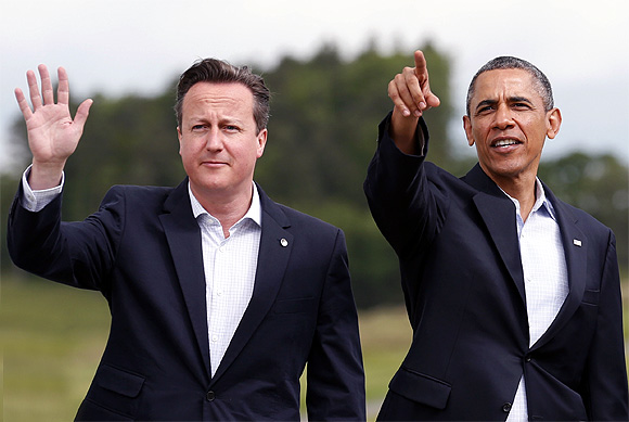 Britain's Prime Minister David Cameron with US President Barack Obama