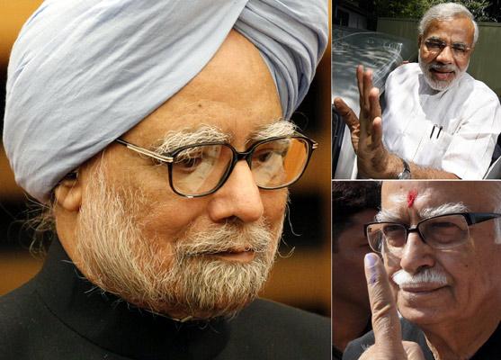 Prime Minister Manmohan Singh, Gujarat Chief Minister Narendra Modi, BJP leader L K Advani