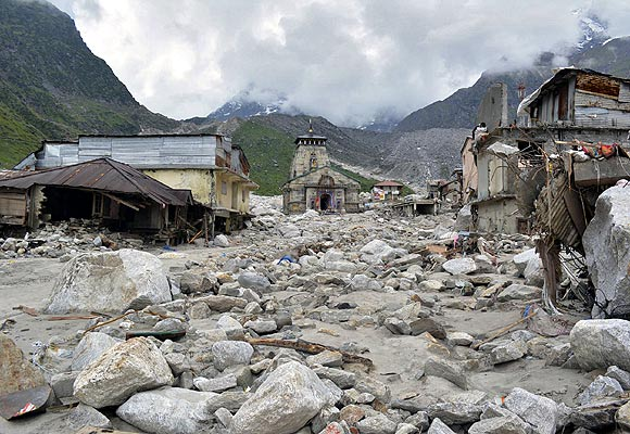 The Kedarnath Temple is pictured amid damaged surroundings by flood waters at Rudraprayag.