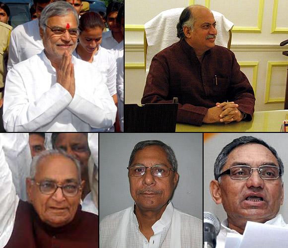 Clockwise, from top left: C P Joshi, Gurudas Kamat, Janardhan Dwivedi, Mohan Prakash and Motilal Vora -- Brahmins all!