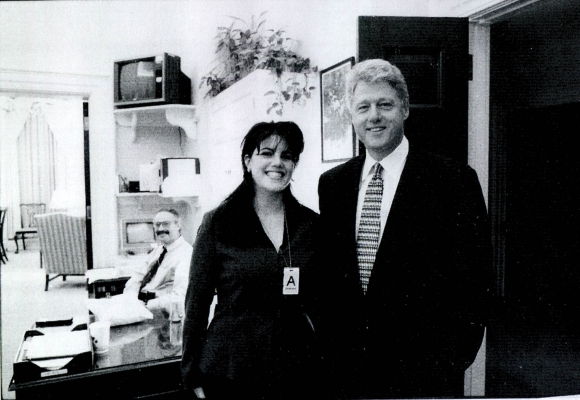 A photograph showing former White House intern Monica Lewinsky meeting President Bill Clinton at a White House function submitted as evidence in documents by the Starr investigation and released by the House Judicary committee September 21, 1998