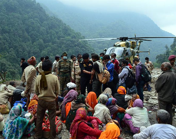 An Indian Air Force helicopter rescues stranded pilgrims in Uttarakhand