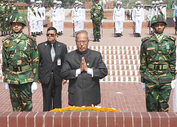 President Pranab Mukherjee at the national memorial at Savar near Bangladesh capital Dhaka