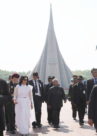 President Pranab at the war memorial at Savar