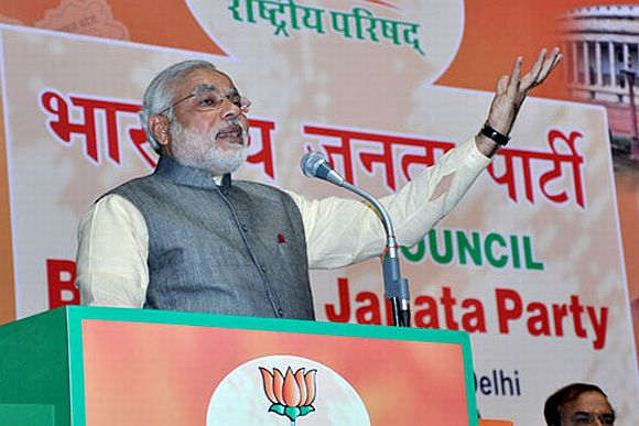 Gujarat Chief Minister Narendra Modi addressing the National Council Meet of the Bharatiya Janata Party in New Delhi