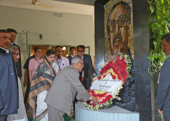 President Pranab Mukherjee at the Bangabandhu Memorial and Museum in Bangladesh