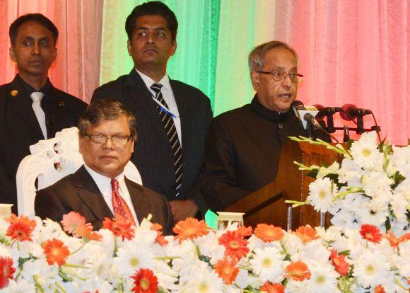 President Pranab Mukherjee addresses the audience after receiving the 'Bangladesh Muktijuddho Sanmanona' in Dhaka on Monday