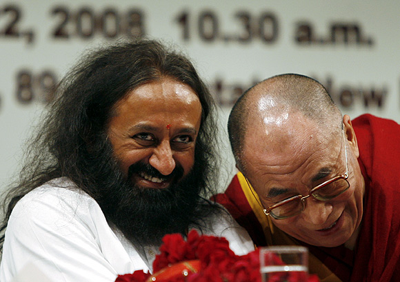 Sri Sri Ravi Shankar, seen here with the Dalai Lama.