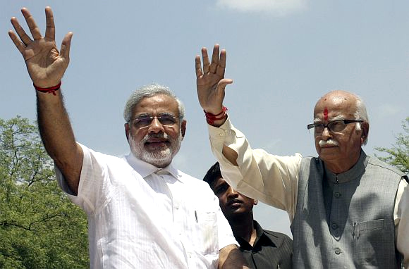 Narendra Modi with L K Advani -- the BJP's past and future?