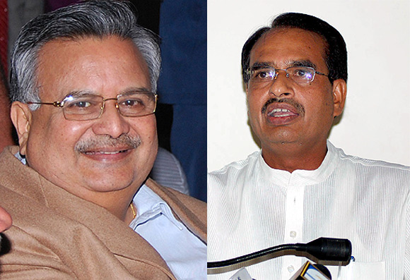 Raman Singh, left, and Shivraj Singh Chauhan are upset with Narendra Modi.