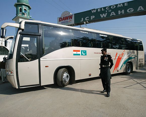 The India-Pakistan bus service at Wagah.