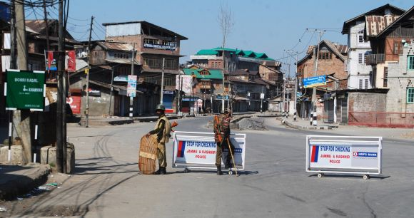 Strict restrictions were imposed as curfew continued in old city parts of Srinagar on Wednesday