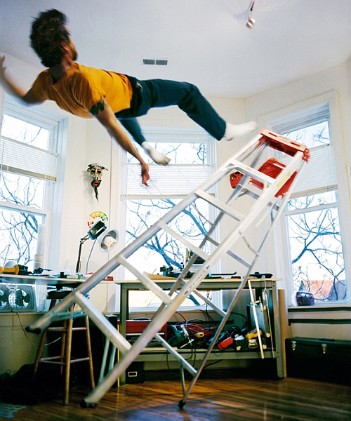 Scary mid-air moments: Artist who captures himself falling