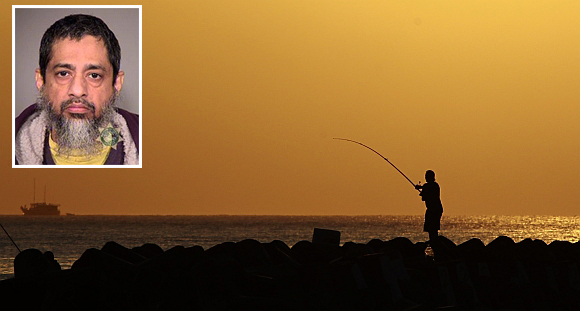 A man fishes on a beach in Male, Maldives. (inset) Reaz Qadir Khan, arrested on charges he