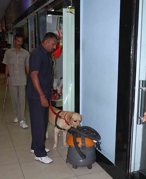 Sniffer dog squad at a mall in Hyderabad