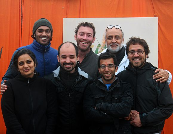 Rahul Mehrotra, second row right, whose brainchild this prject was, and the Harvard GSD Maha Kumbh team -- front row from the left, Namita Dharia, Filipe Vera, Alykhan Mohamed, Oscar Malaspina, and second row from the left, Vineet Diwarkar and James Whitten