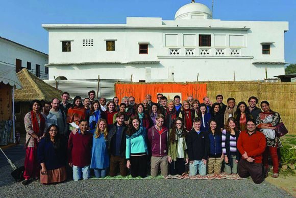 The first group of Harvard students, faculty and staff at the Maha Kumbh mela in January.