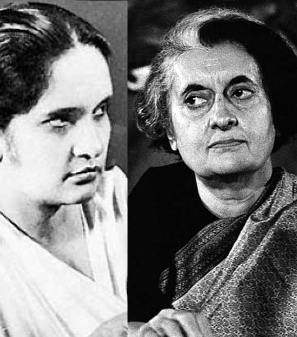 (left) Sirimavo Bandaranaike  and Indira Gandhi